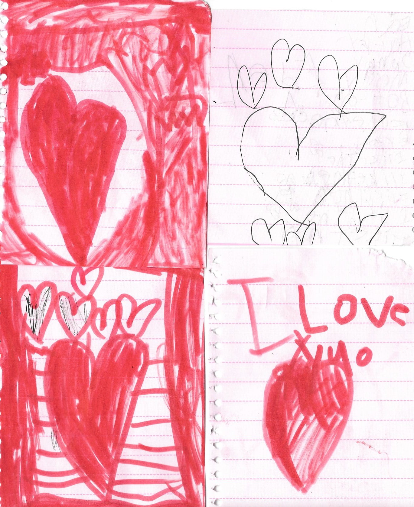 four heart drawings