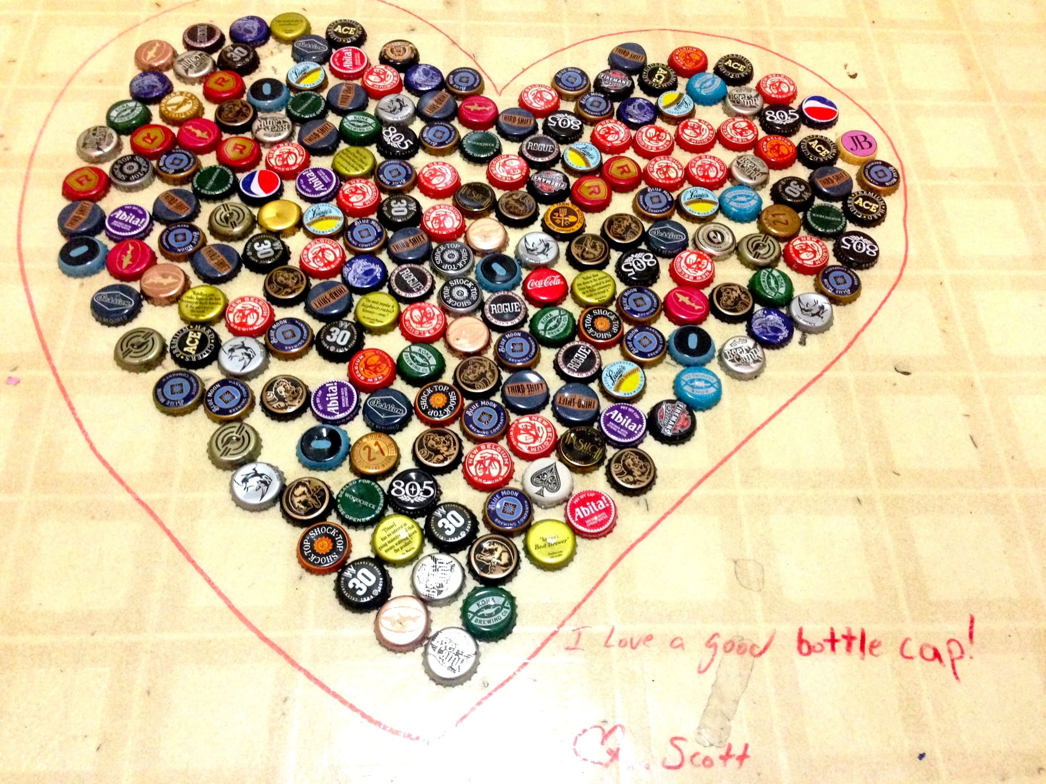 bottle cap heart show love