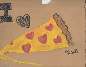using the pizza box to draw the pizza on