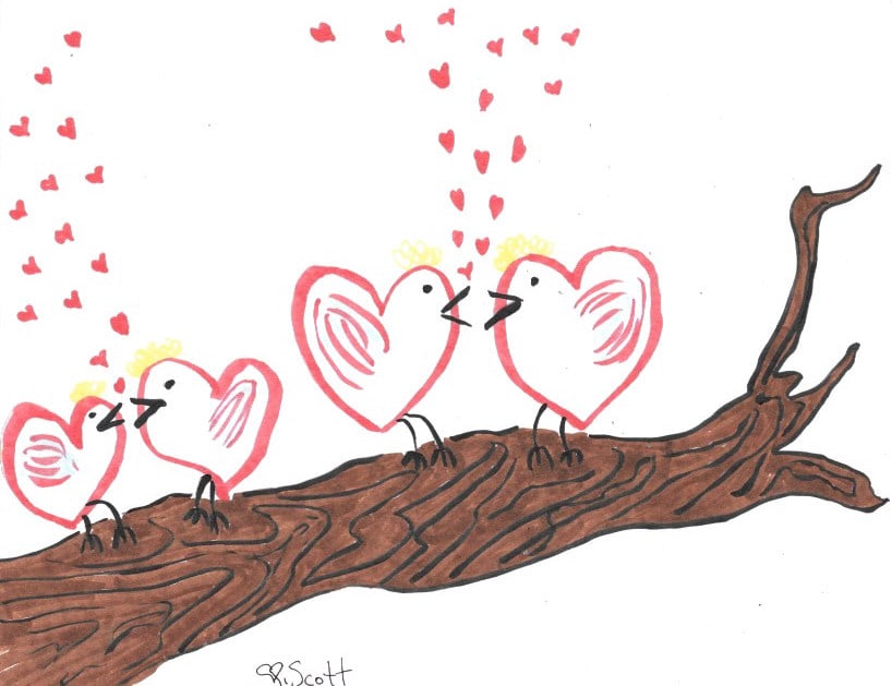 how to draw two love birds