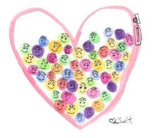 Love is a gum ball machine full of happy gum balls.