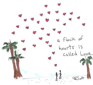 A flock of hearts is called love.