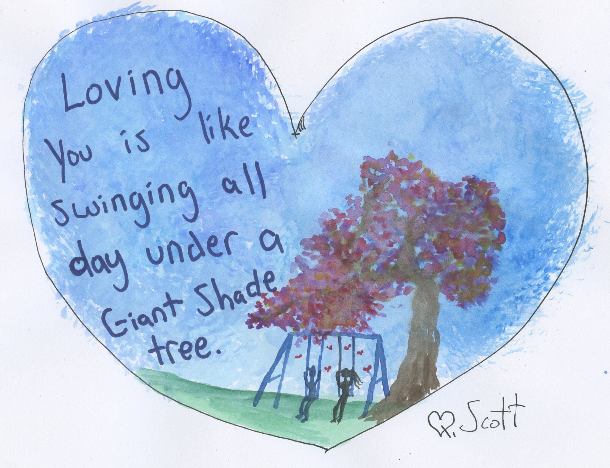 Loving you is like swinging all day under a giant shade tree