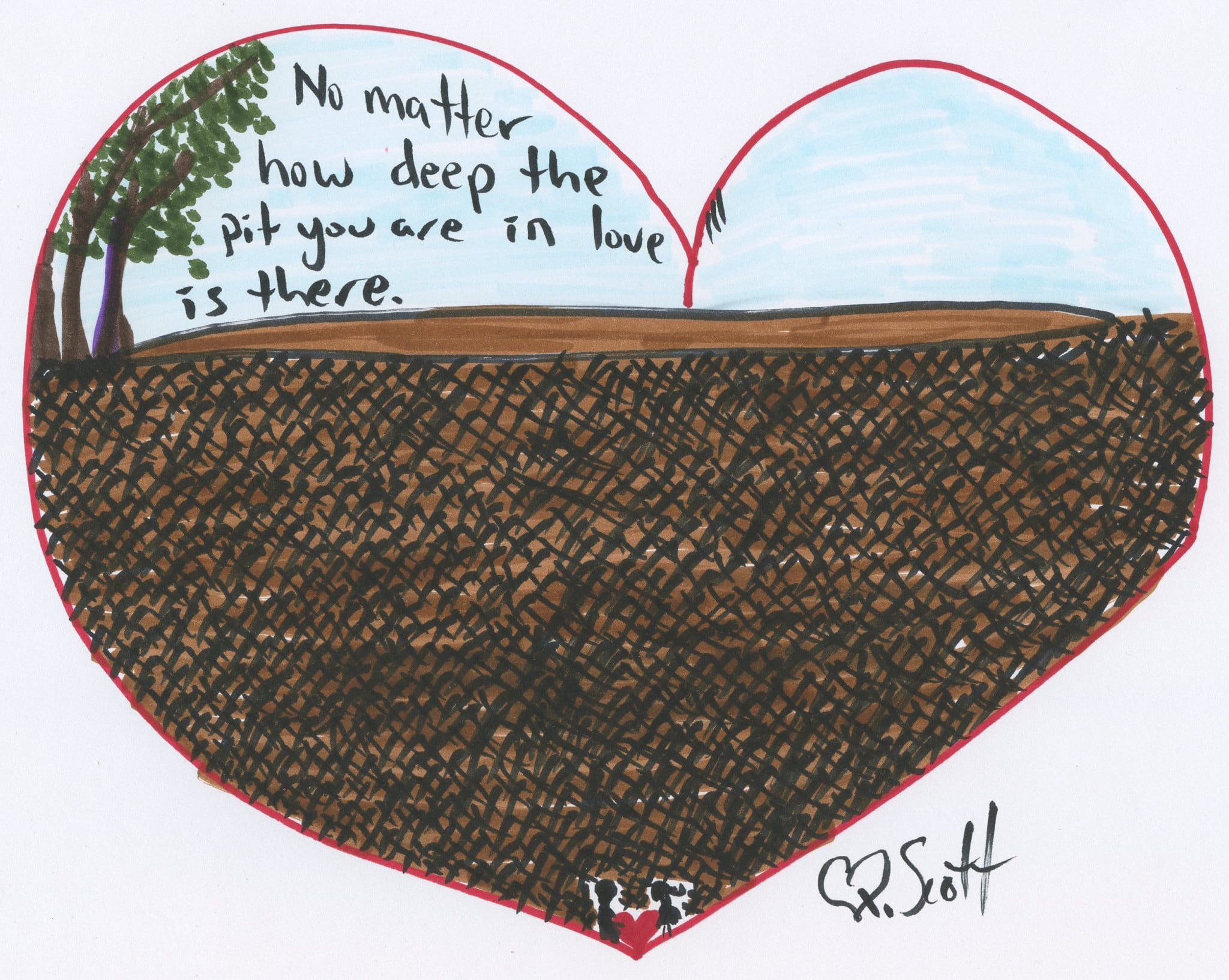 no matter how deep the pit you are in love is there