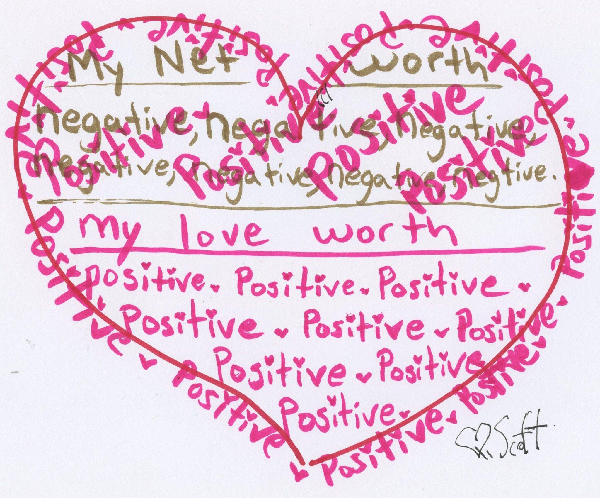 My net worth negative negative negative... My love worth positive, positive,positive,positive,positive,positive,positive