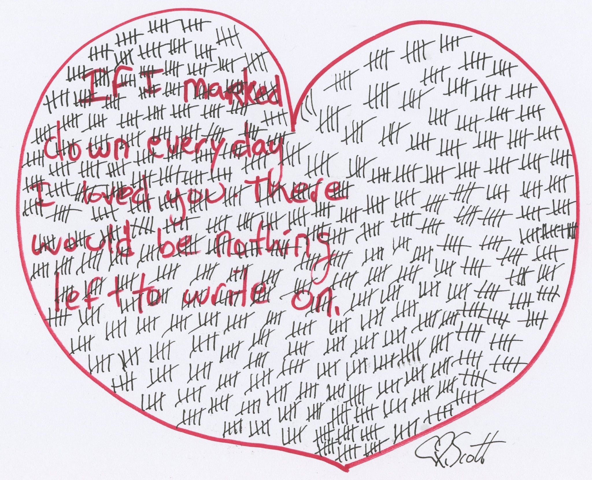 If I marked down the days I love you there would be nothing left to write on.