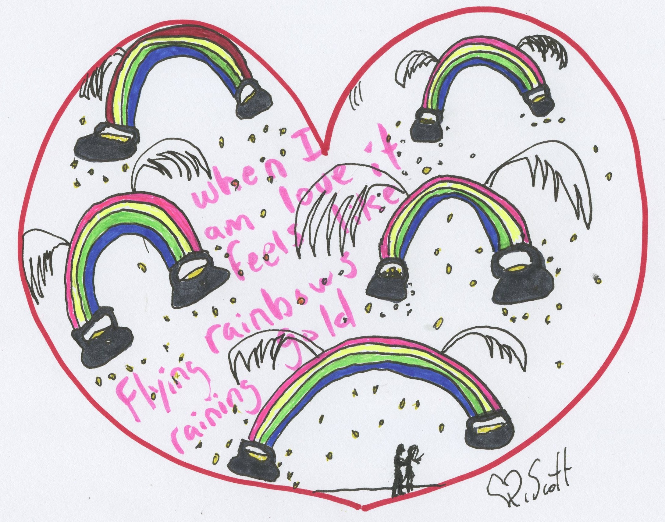 love, heart, rainbows