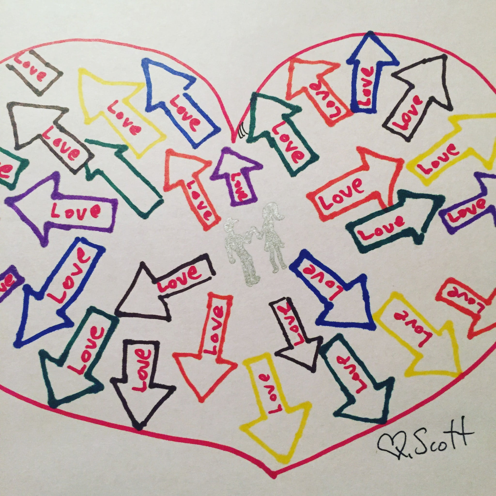 Love, draw, heart