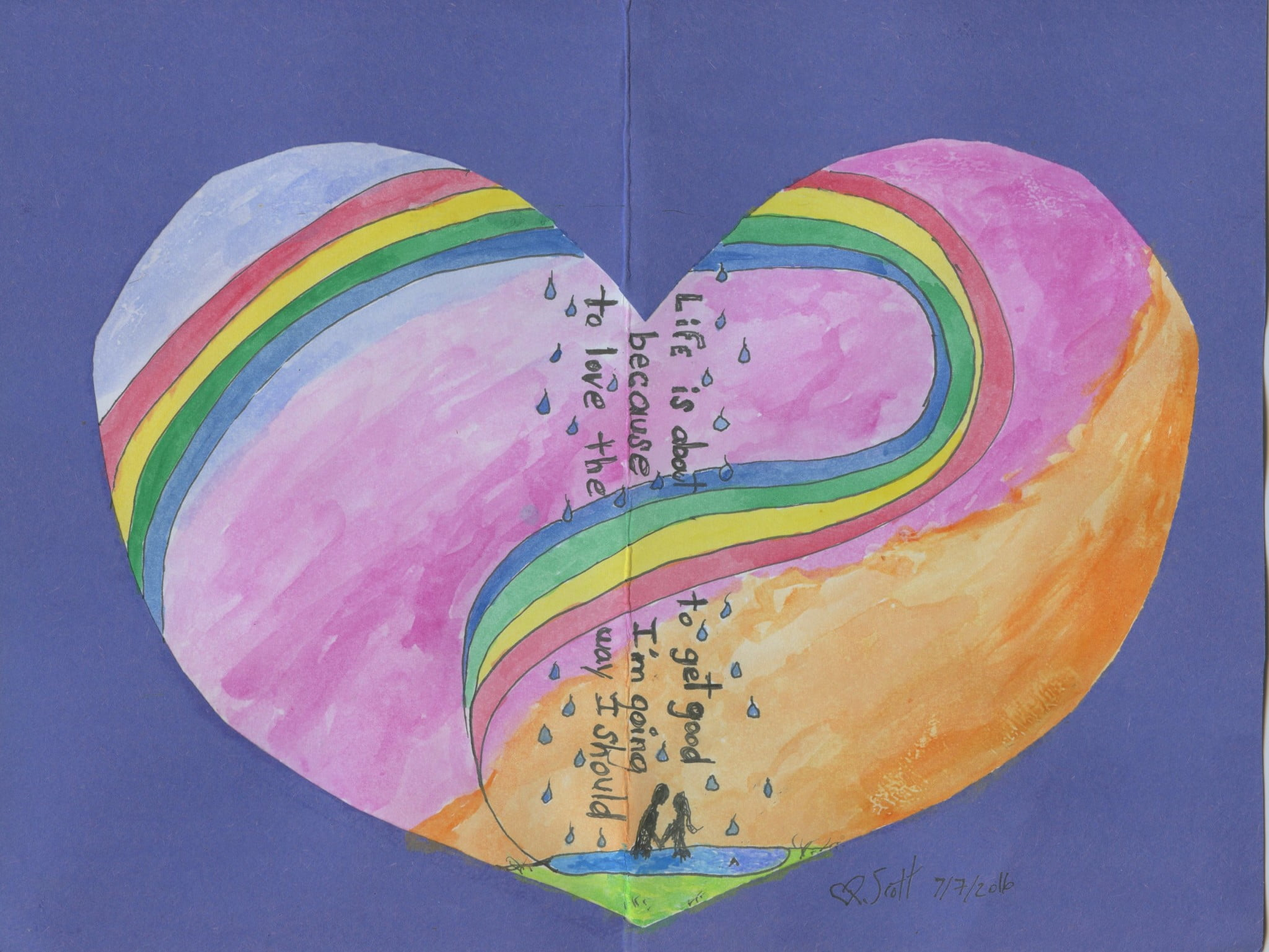 rainbow heart drawing