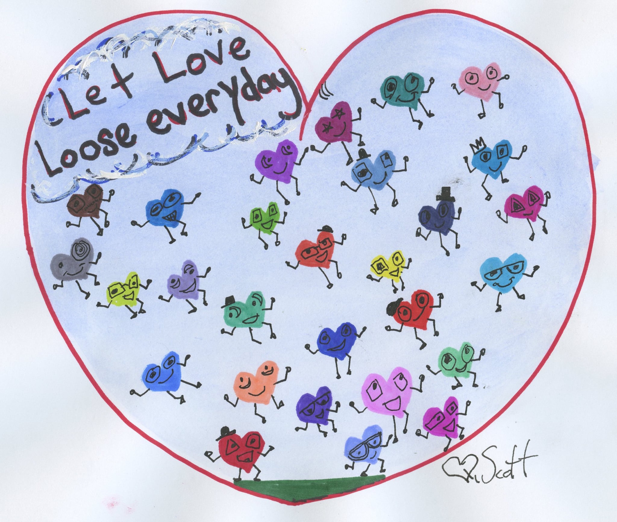 love loving heart draw