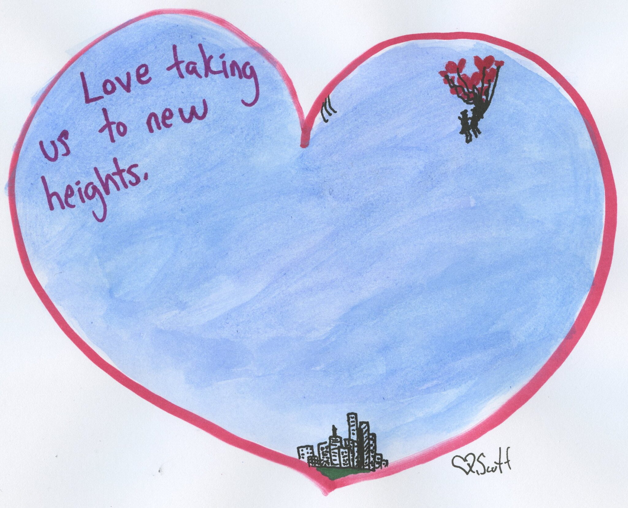 love, heart, heights